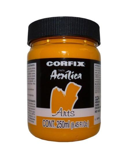 Tinta Acrílica Fosca Corfix Arts 250ml 124 Amarelo Cádmio Escuro