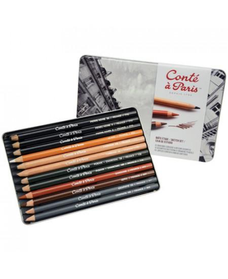 Estojo de Lápis Para Desenho Conté à Paris Sketch Set 12 Lápis