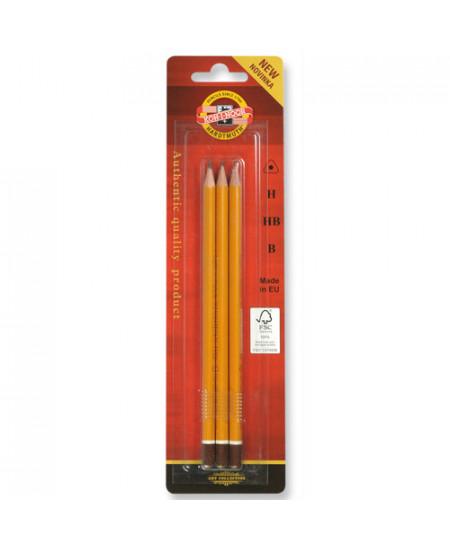 Kit de Lápis Graduado Koh-I-Noor 15802 03 Graduações HB/2B/4B
