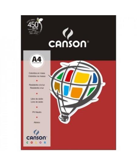 Papel Canson Vivaldi A4 120g/m² 15 Folhas 09 Vermelho Escuro