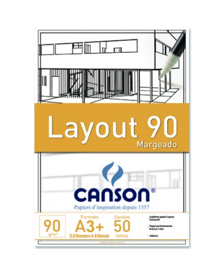 Bloco de Papel Layout Margeado Canson 90g/m² A3