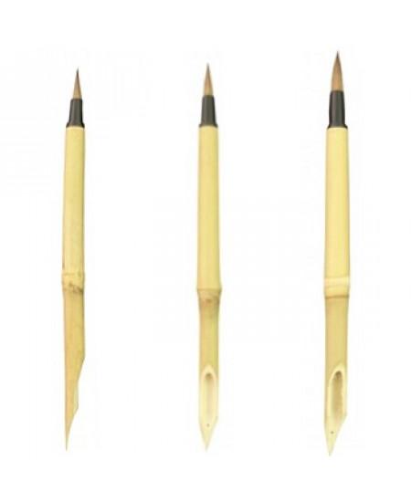 Pena de Bambú com Pincel 03 Peças SFB0132