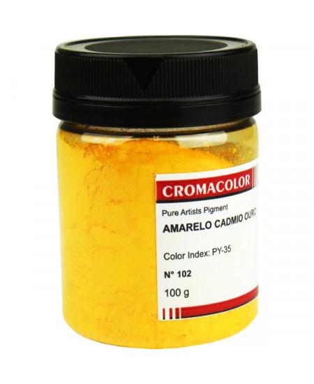 Pigmento Artístico Puro 102 Amarelo Cadmio Ouro Cromacolor 100g
