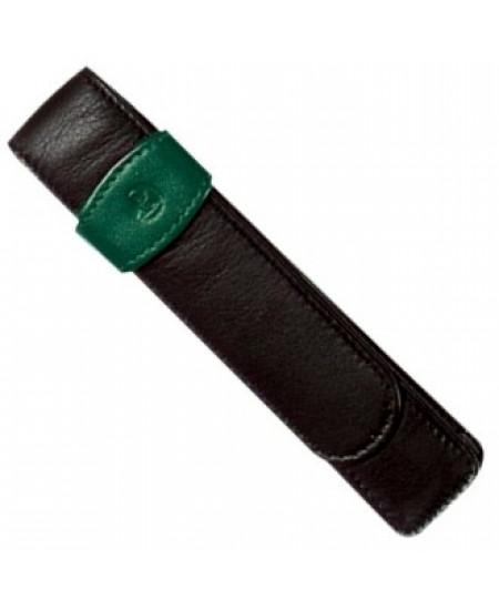 Porta Caneta Pelikan em Couro Verde Para 01 Caneta