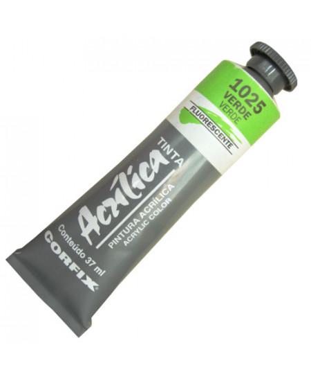 Tinta Acrílica Fluorescente Corfix 37ml 1025 Verde