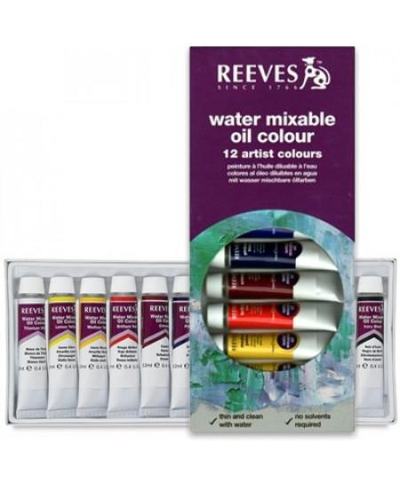 Tinta a Óleo Solúvel em Água Reeves 12 Cores