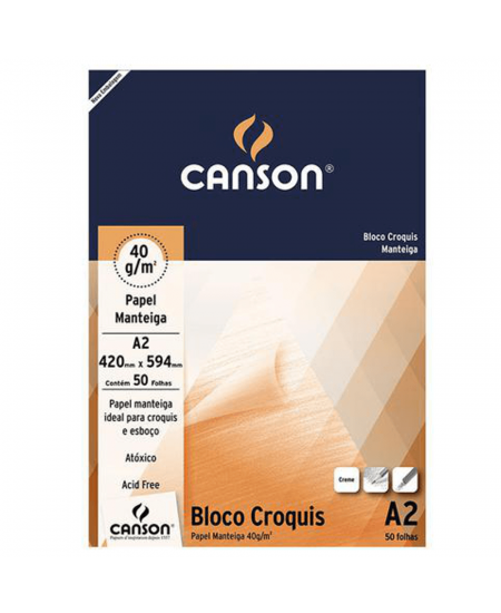 Bloco de Papel Manteiga Croquis  Canson 41g/m² A2