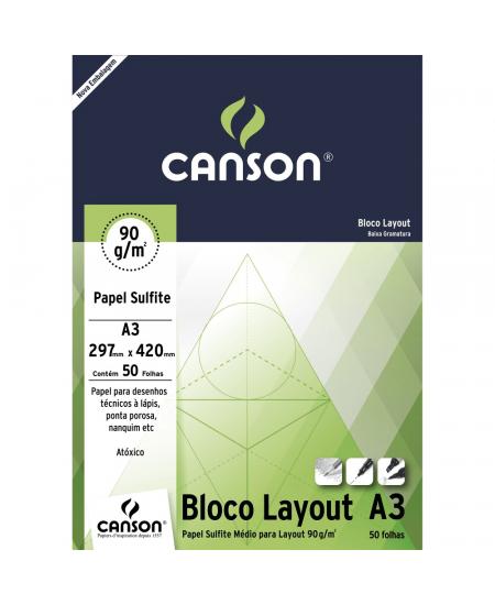 Bloco de Papel Layout Canson 90g/m²  A3 50 Folhas