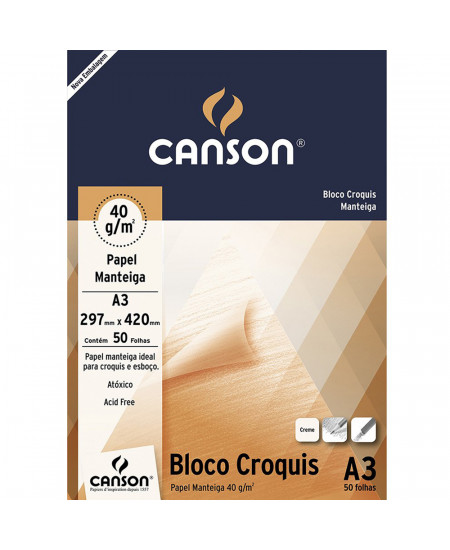 Bloco de Papel Manteiga Croquis  Canson 41g/m² A3