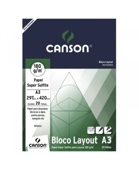 Bloco de Papel Layout Canson 180g/m² A3
