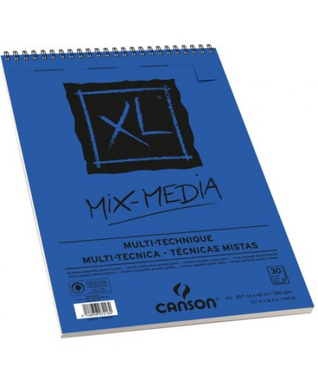 Bloco de Papel Canson XL Mix Media Multi-Técnica 300g/m² A3