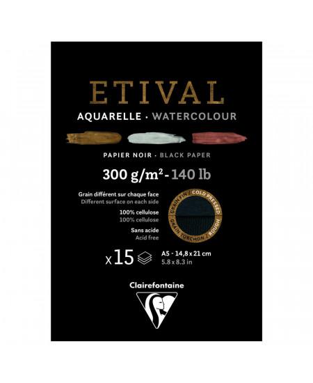 Bloco de Papel Para Aquarela Negro Etival A5 300g Clairefontaine