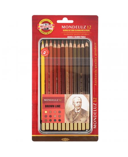 Lápis Aquarelável Mondeluz 12 cores Tons de Marrom