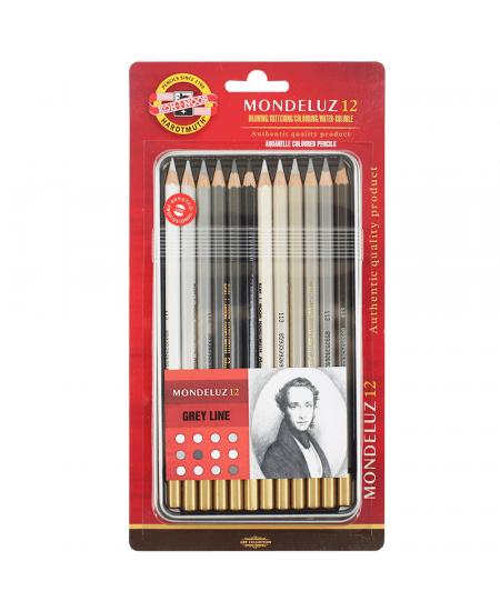 Lápis Aquarelável Mondeluz 12 cores Tons de Cinza