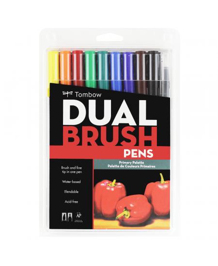 Caneta Pincel Dual Brush Tombow 10 Cores Primarias