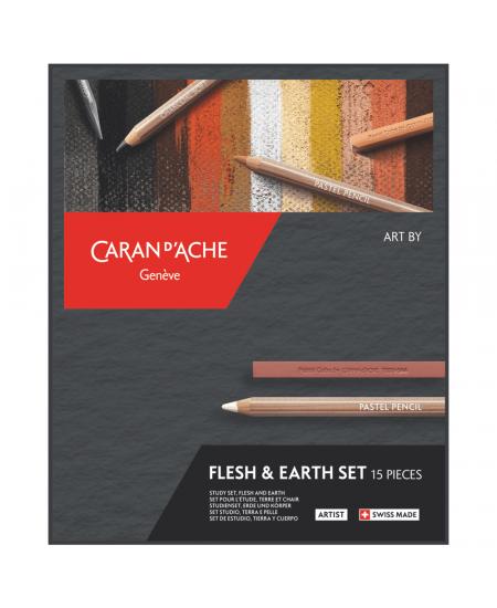 Estojo Flesh & Earth Caran d'Ache com 15 Peças