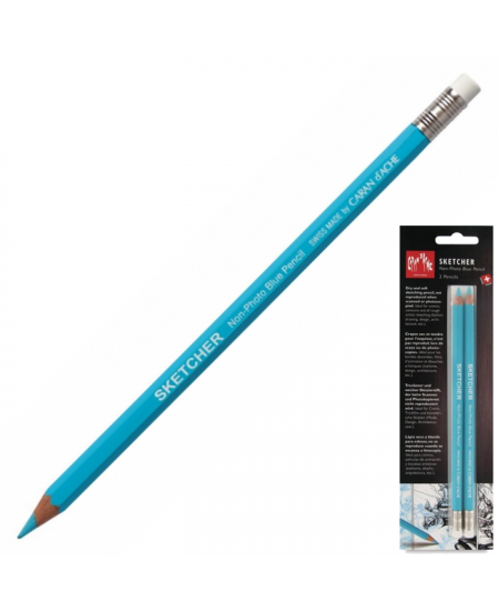 Lápis Azul Apagável Sketcher Caran d'Ache 02 Unidades