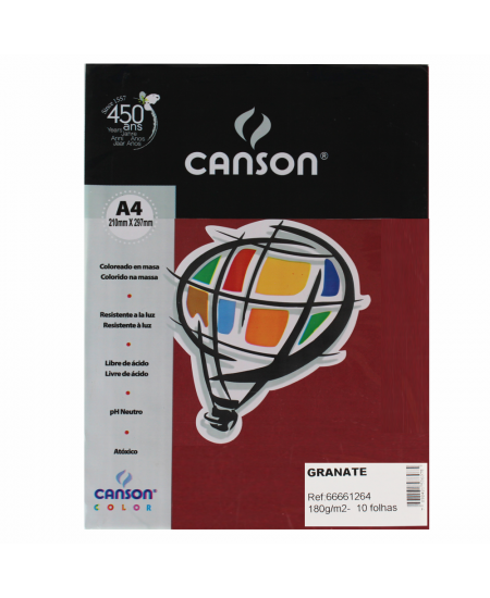 Papel Canson Vivaldi A4 180g/m² 10 Folhas Granate