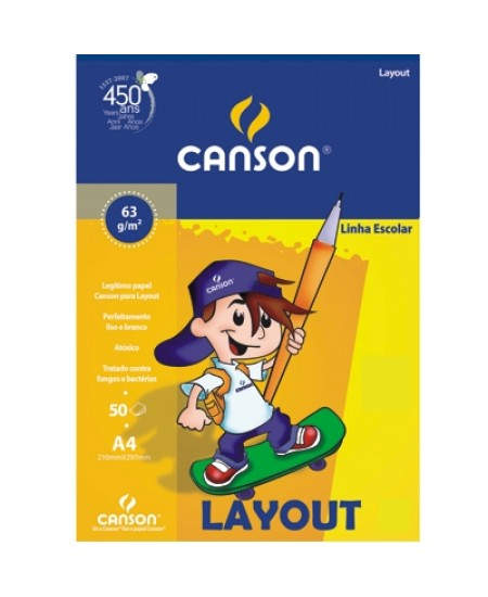 Bloco de Papel Layout Canson Escolar 63g/m² A3