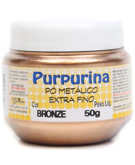 Purpurina em Pó Bronze 50g Glitter