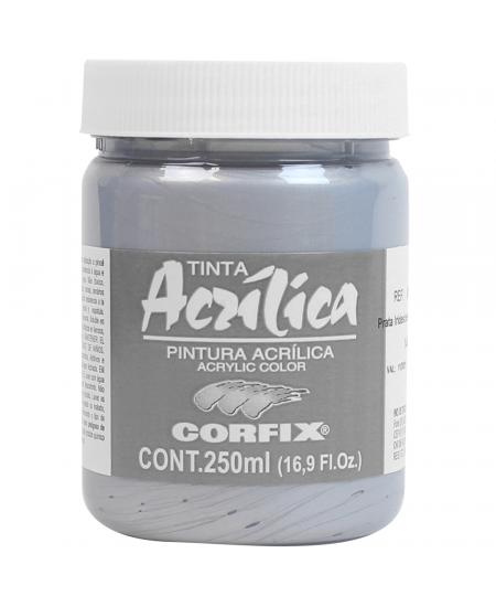 Tinta Acrílica Corfix 250ml Metálica 140 Prata Iridescente