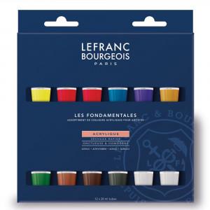 Estojo Tinta Acrílica Lefranc & Bourgeois 12ml 20 Cores