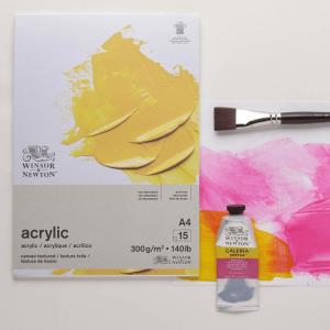Bloco de papel tinta acrílica Winsor & Newton 300g A4 15 folhas branco natural