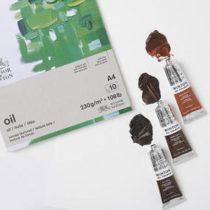 Bloco de papel tinta óleo winsor & newton 230g a4 10 folhas textura de linho
