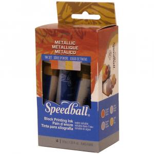 Tinta para xilogravura Speedball 4 cores metálicas 37ml