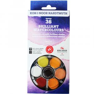 Tinta Aquarela em Pastilha Koh-I-Noor 36 Cores Brilhantes