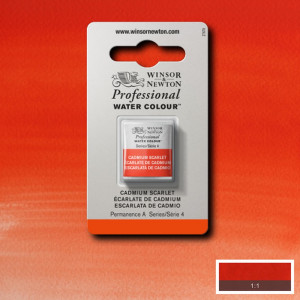 Tinta Aquarela Profissional Winsor & Newton Pastilha S4 106 Cadmium Scarlet