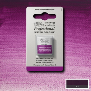 Tinta Aquarela Profissional Winsor & Newton Pastilha S3 491 Permanent Mauve