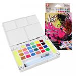 Tinta Aquarela em Pastilha KOI Sakura 24 Cores Metálicas e Neon
