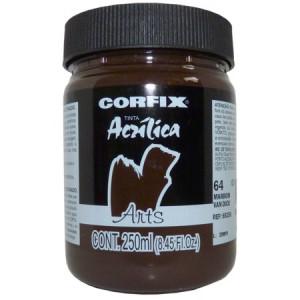 Tinta Acrílica Fosca Corfix Arts 250ml  64 Marrom Van Dick G1