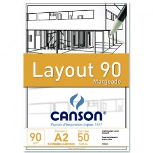Bloco de Papel Layout Margeado Canson 90g/m² A2