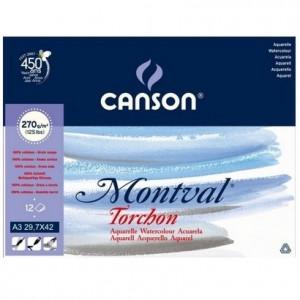 Bloco de Papel Para Aquarela Montval Torchon Canson A3 270g/m²