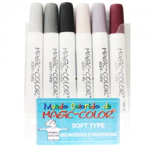 Caneta Magic Color Soft Type 06 Cores Tons de Cinza 565