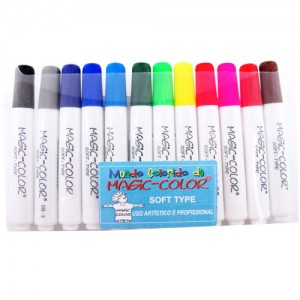 Caneta Magic Color Soft Type 12 Cores Básicas 560