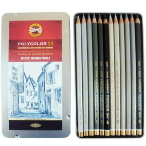 Lápis de Cor Polycolor 12 cores Tons de Cinza