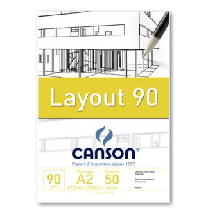 Bloco de Papel Layout Canson 90g/m²  A2 50 Folhas