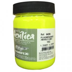 Tinta Acrílica Fluorescente Corfix 250ml 1002 Amarelo