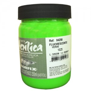 Tinta Acrílica Fluorescente Corfix 250ml 1025 Verde