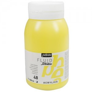 Tinta Acrílica Importada Para Tela Pébéo 48 Amarelo Primário 1 L