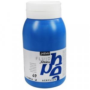 Tinta Acrílica Importada Para Tela Pébéo 49 Azul Cyan 1 Lt