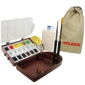 Tinta Aquarela Holbein em Pastilha Travel Kit II