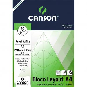 Bloco de Papel Layout Canson 90g/m² A4 50 Folhas
