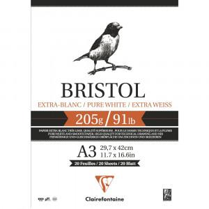 Bloco de Papel Desenho Bristol A3 205g/m² Clairefontaine