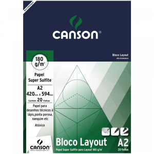 Bloco de Papel Layout Canson 180g/m² A2