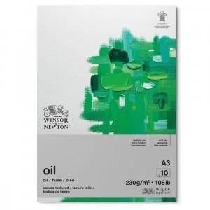 bloco de papel tinta óleo winsor & newton 230g a3 10 folhas textura de linho