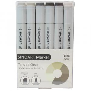 Marcador Artístico Sinoart Marker 06 Tons de Cinza